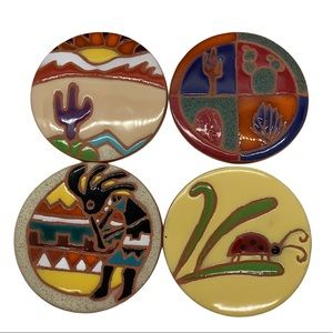 Nine Hills Ceramic Coasters. Set of Four .